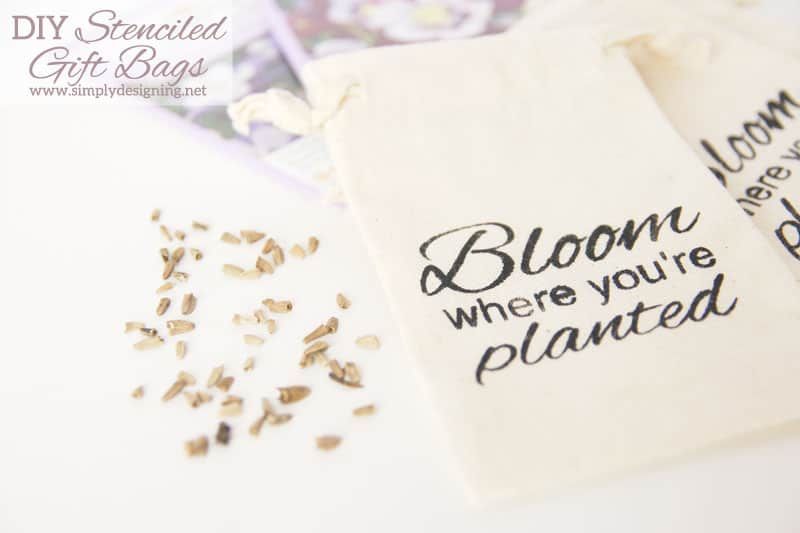 "DIY Stenciled ""Bloom"" Gift Bag - Simply Designing with Ashley"