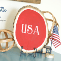 DIY Patriotic Tree Slice Decor | #4thofJuly #FourthOfJuly #redwhiteandblue #patriotic #craft #craftblogger