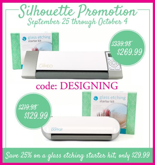 Glass Etching Starter Kit Promotion and Silhouette Sale | http://www.silhouetteamerica.com/glass code: DESIGNING | #silhouette