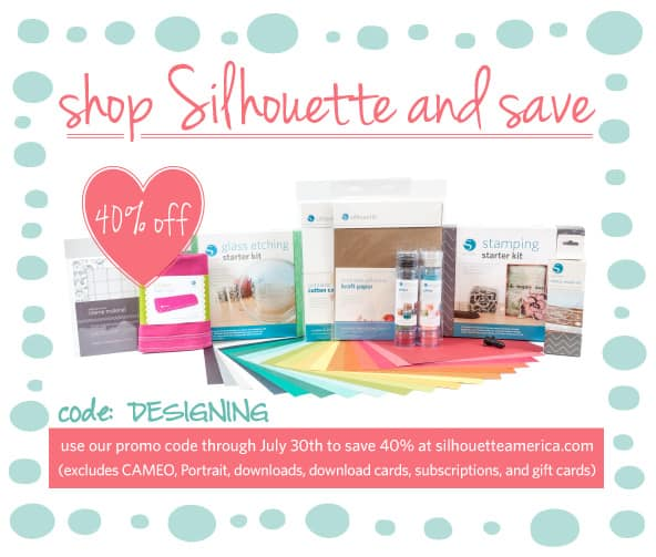 40% off Silhouette Consumables (through July 30th, 2013) use code: DESIGNING  #silhouette #silhouetteamerica