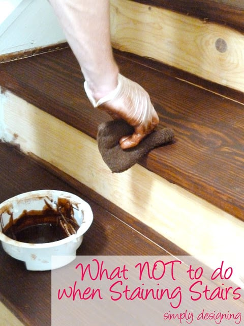 What NOT to do when Staining Stairs - Stair Make-Over - we ripped up our carpet and refinished our stairs to create an upscale hardwood stair case!  Come learn what we did RIGHT and what we did WRONG!  #stairs #home #remodel #renovation #paint #stain #DIY