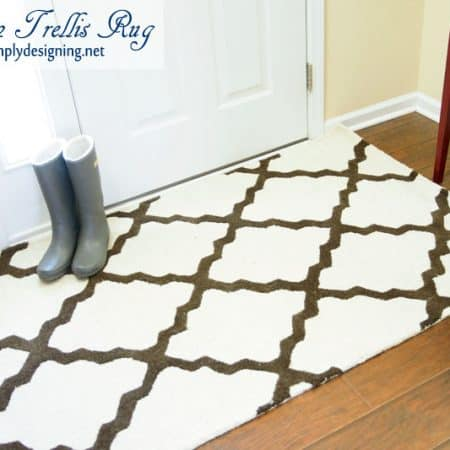 Moroccan Trellis Rug with gray boots | new Moroccan Trellis Rug for my front entrance | #decorating #homedecor #rugs
