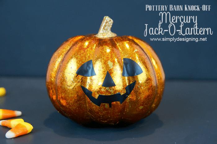 Mercury Jack-O-Lantern  #halloween #potterybarnknockoff #fall #crafts