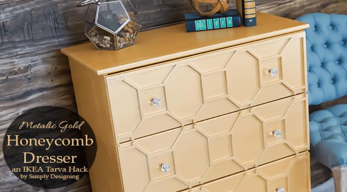 Metallic Gold Honeycomb Dresser {an IKEA Tarva Hack} + giveaway
