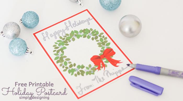 Printable Holiday Postcard