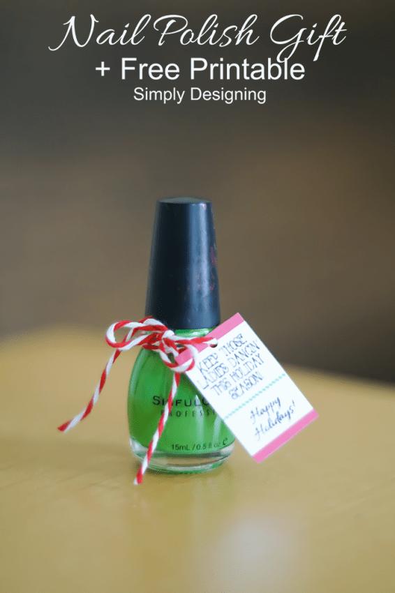 Nail Polish Holiday Gift with Printable