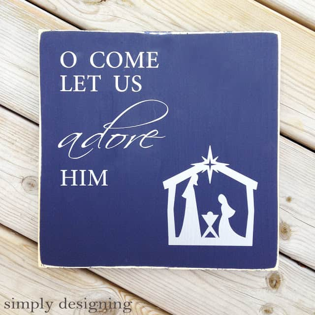 Oh Come Let Us Adore Him Wood Signs Christmas Signs Wood: Silhouette Portrait Giveaway