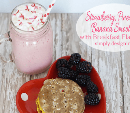 Strawberry Pineapple Banana Smoothie and Breakfast Sandwich Featured Image