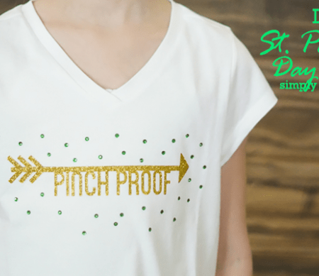 DIY St Patricks Day Shirt with Glitter Vinyl and Rhinestones - featured image