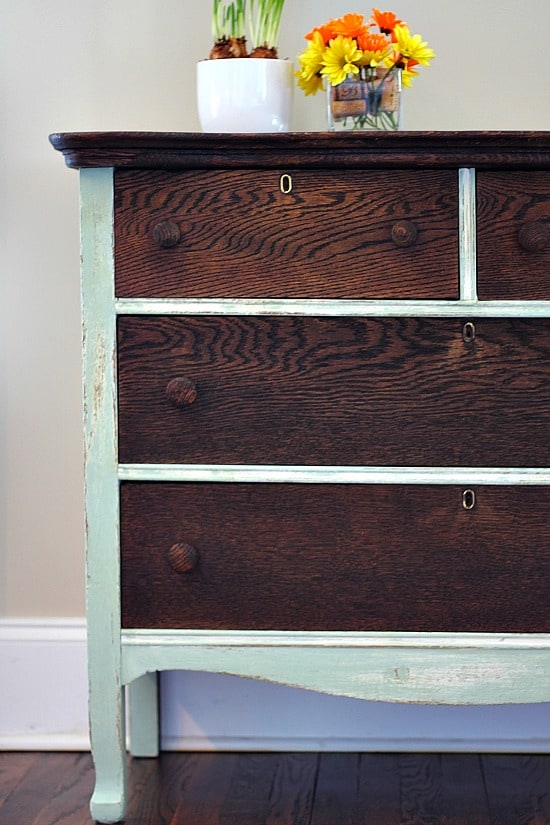 Dresser-Makeover-with-Kona-stain-and-Creme-de-Menthe-chalk-based-paint