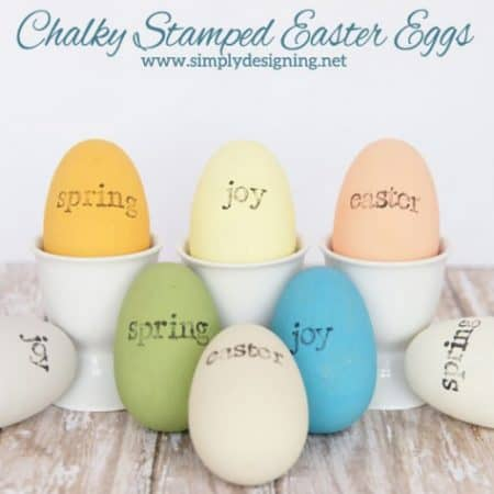 chalky stamped easter eggs