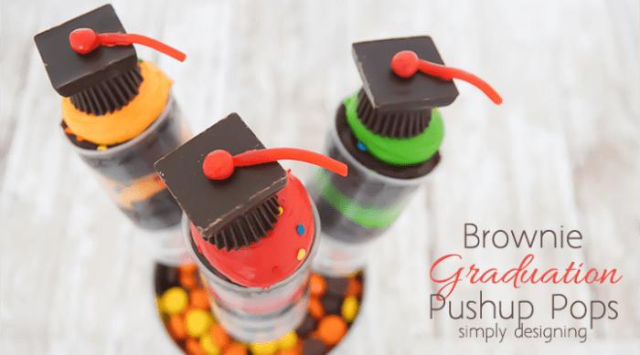 Brownie Graduation Pushup Pops