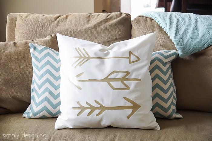 DIY Gold Arrow Pillows