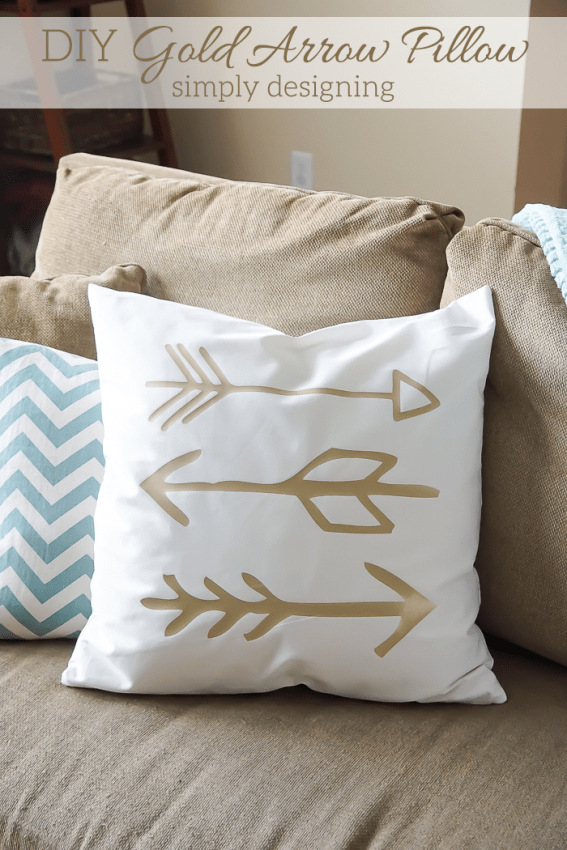 DIY Gold Arrow Pillows - I love these pillows & Cozy Up Your Home with DIY Pillows | Homeschool Giveaways pillowsntoast.com