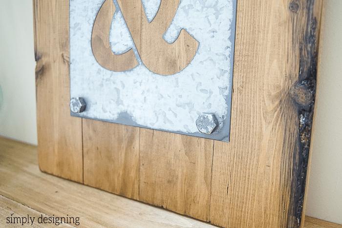 DIY Industrial Ampersand Decor close up