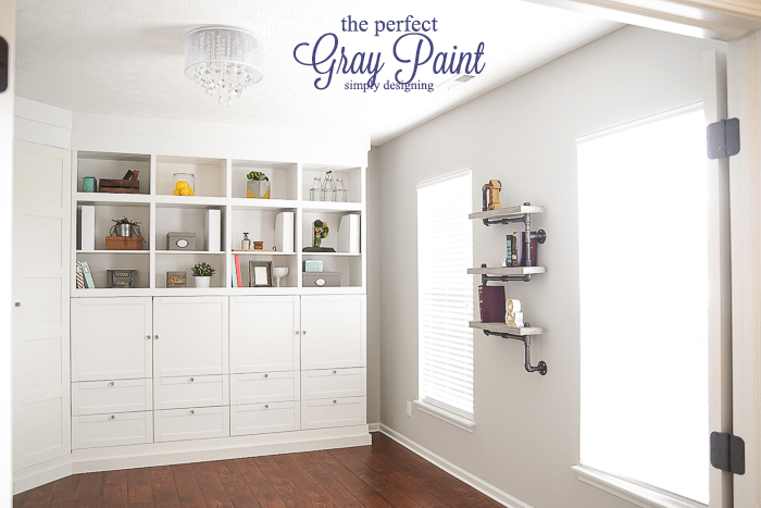 the perfect gray paint - such a pretty transformation of this craft room