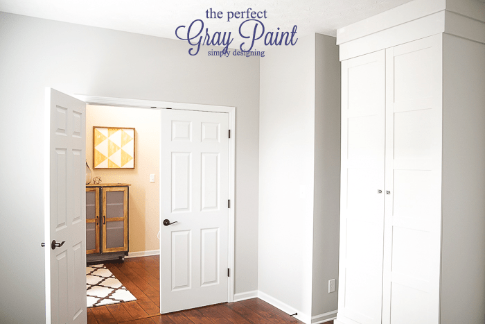 the perfect gray paint - this is the perfectly warm gray and it is a wipeable flat paint