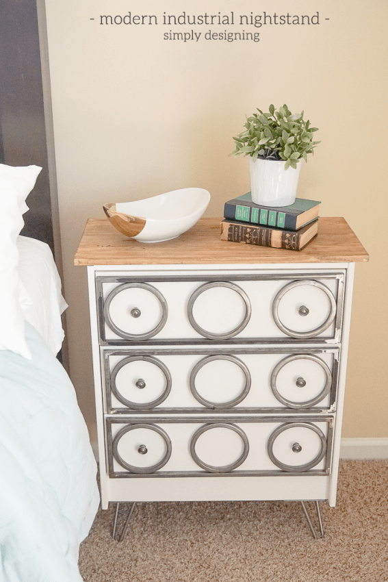 Modern Industrial Nightstand - such a fun way to update an IKEA Rast dresser