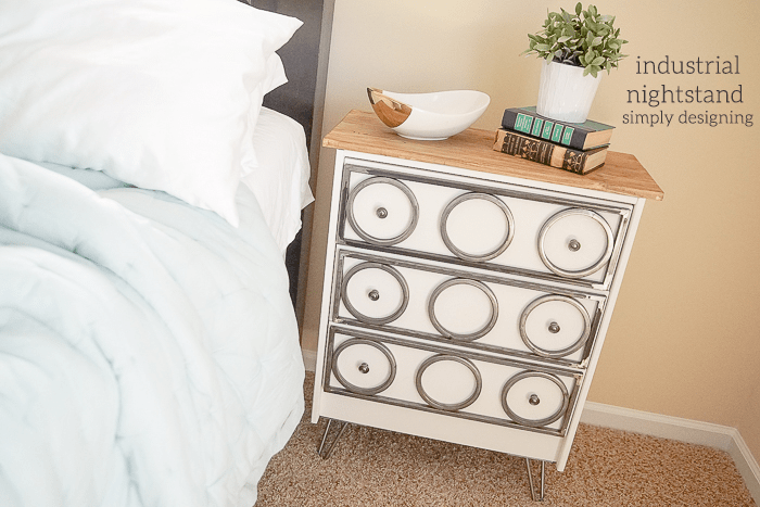 Modern Industrial Nightstand with Hairpin Legs