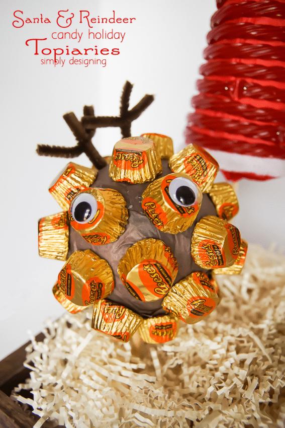 Santa and his Reindeer Candy Holiday Topiaries- reindeer