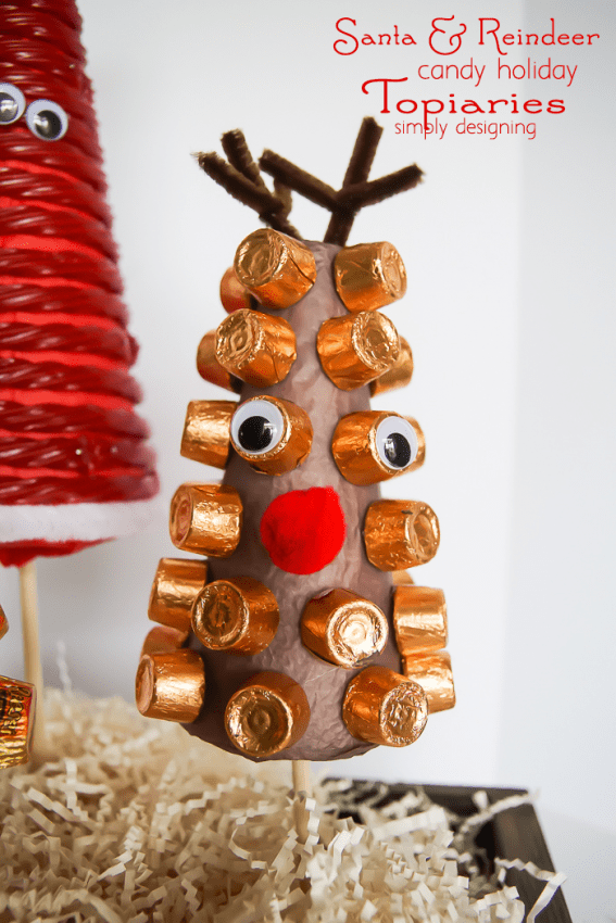 Santa and his Reindeer Candy Holiday Topiaries-rudolf