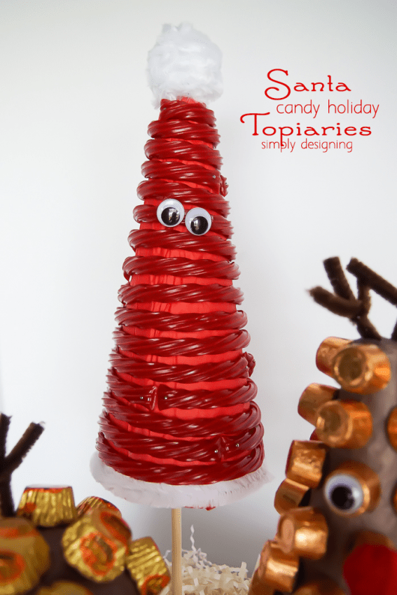 Santa and his Reindeer Candy Holiday Topiaries - santa