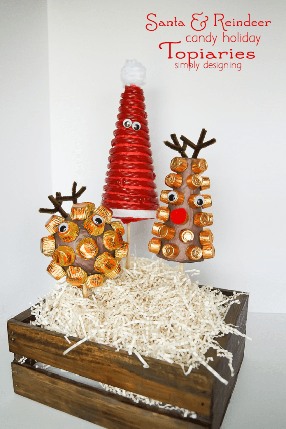 Santa and his Reindeer Candy Holiday Topiaries - simple and cute holiday decoration craft