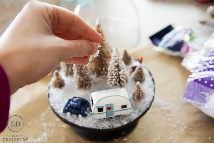 Easy DIY Winter Wonderland Cloche - add snow