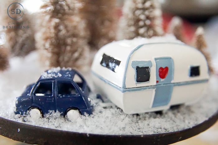 Easy DIY Winter Wonderland Cloche - close up of car