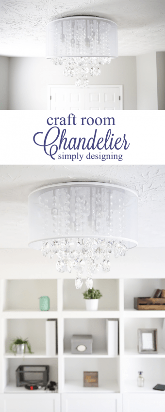Craft Room Chandelier - such a beautiful new light fixture for a light and airy office space