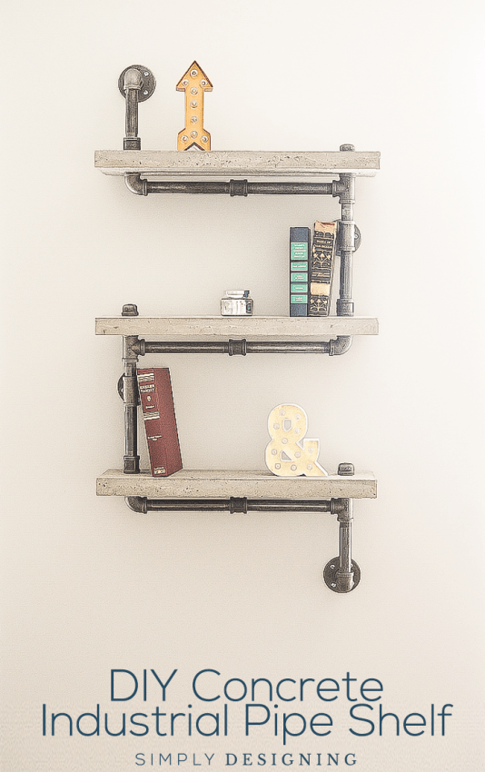 DIY Concrete Industrial Pipe Shelf tutorial