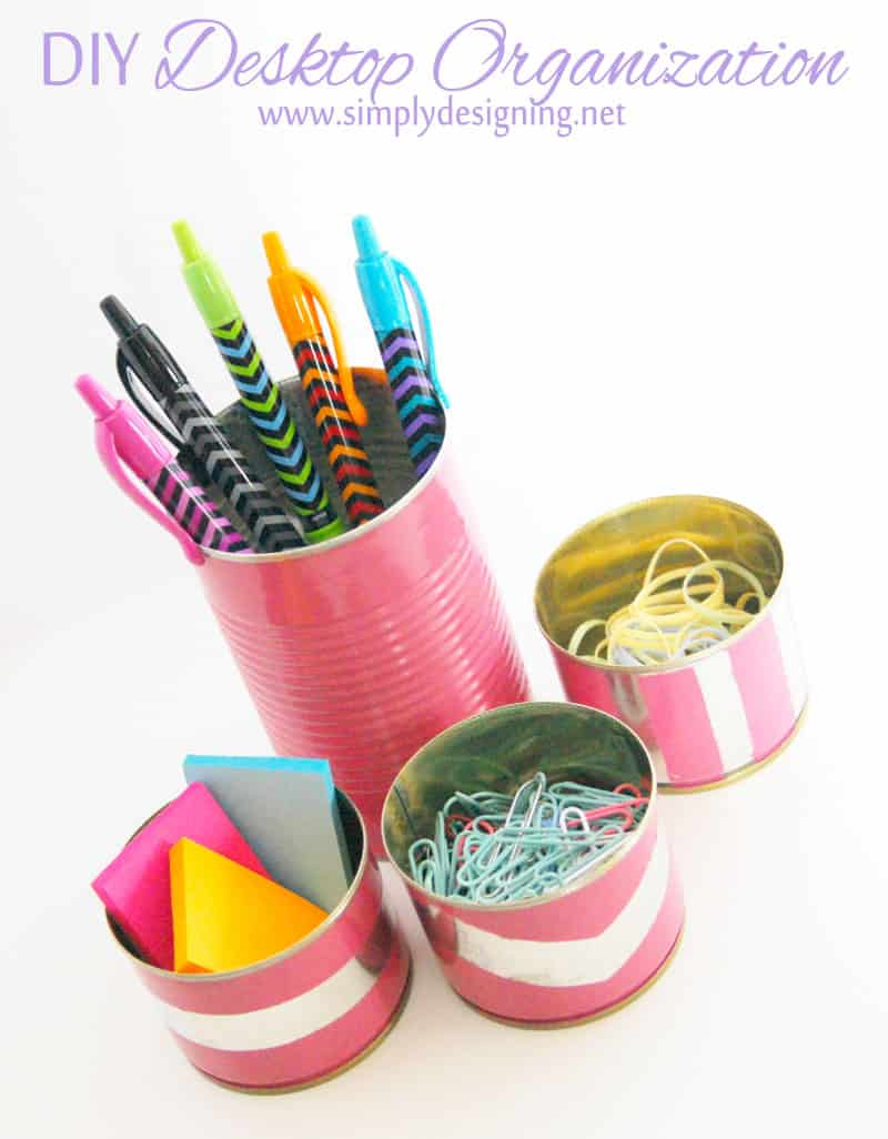 $1 DIY Desktop Organization | for less then $1 you can DIY your own cute desktop accessories