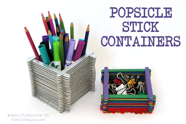 Popsicle Stick Containers - this is a really fun kid craft that has so many uses! #kidcraft #kidactivity #summer