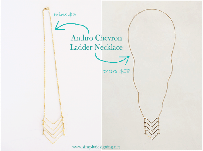 Anthropologie Necklace Knock-Off Chevron Ladder