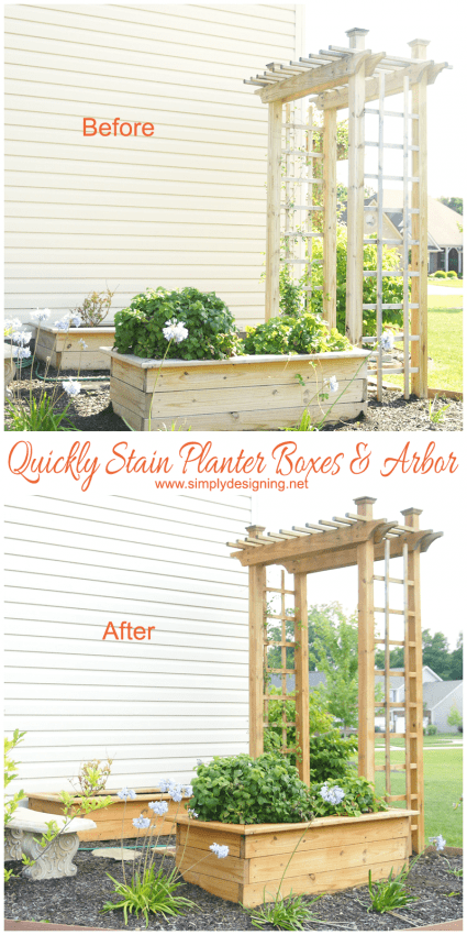 How to Quickly Stain two planter boxes and an arbor in less then 30 minutes! Before and After photos. - #stain #staining #diy #exterior
