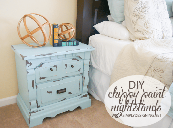 Chippy Paint Nightstand  | #diy #paint #furniture