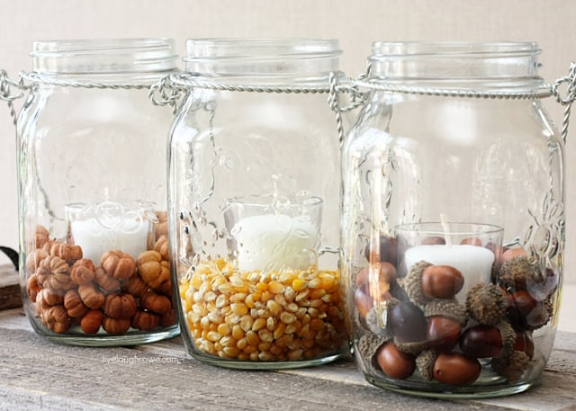 DIY Fall Decor with Hanging Mason Jars