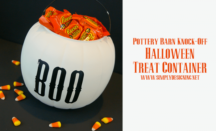 PB Knock-Off Halloween Treat Container | #halloween #potterybarnknockoff #halloweencraft