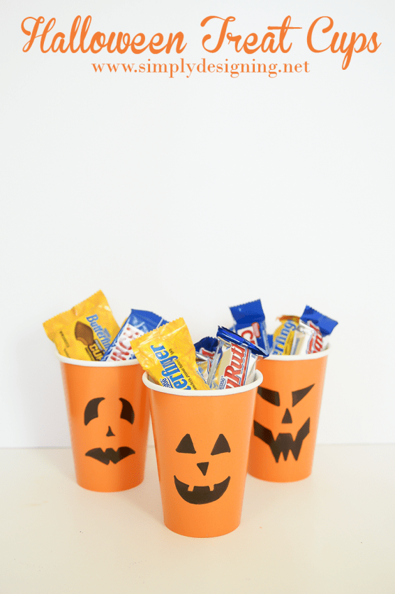 Pumpkin Halloween Treat Cups #halloween #fall #candy #crafts
