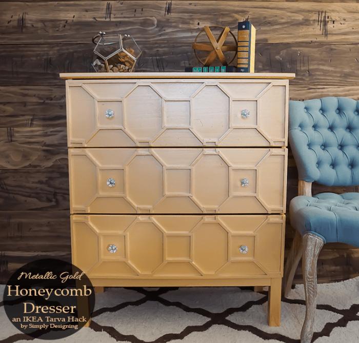 Metallic Gold Honeycomb Dresser