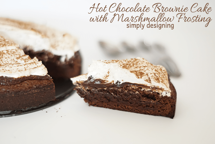 Hot Chocolate Brownie Cake with Marshmallow Frosting Slice