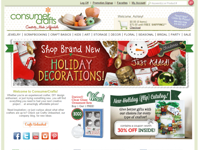 consumer crafts home page