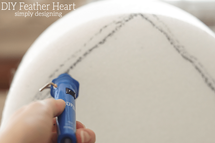 Cut Styrofoam into Heart Shape