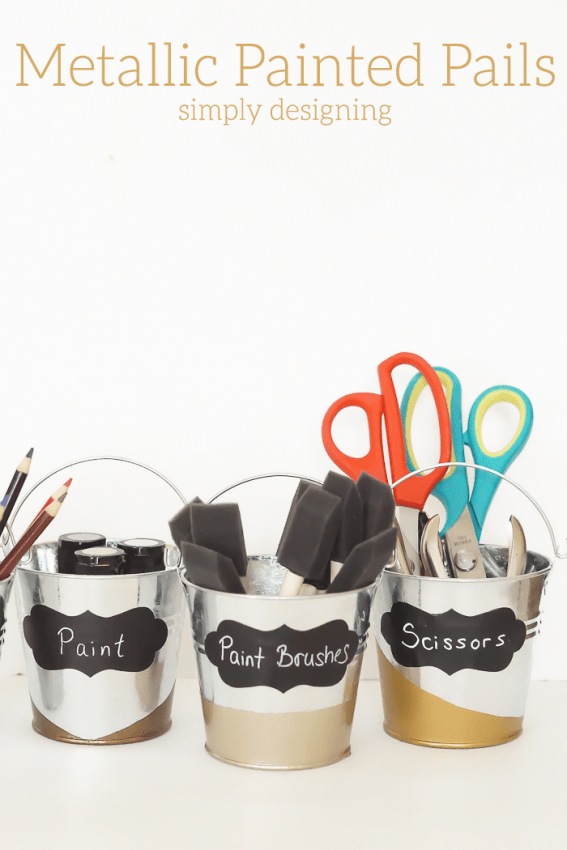Painted Metallic Pails for Organization