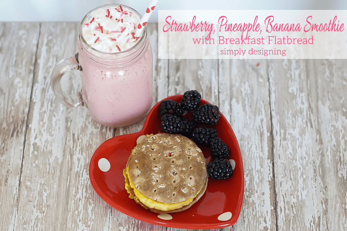 Strawberry Pineapple Banana Smoothie and Breakfast Sandwich
