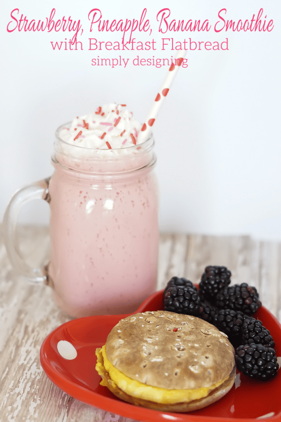 Strawberry Pineapple Banana Smoothie with Egg and Bacon Breakfast Sandwich