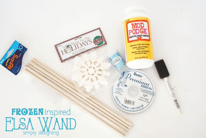 Supplies to make a princess wand