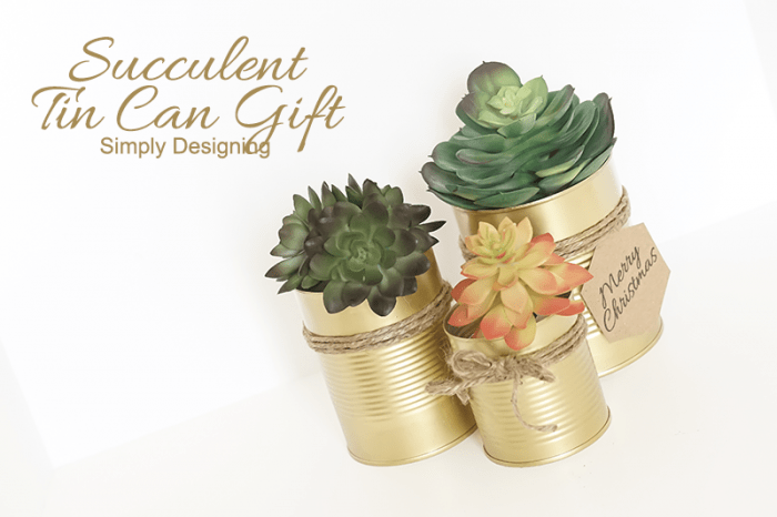 Succulent Gold Tin Can