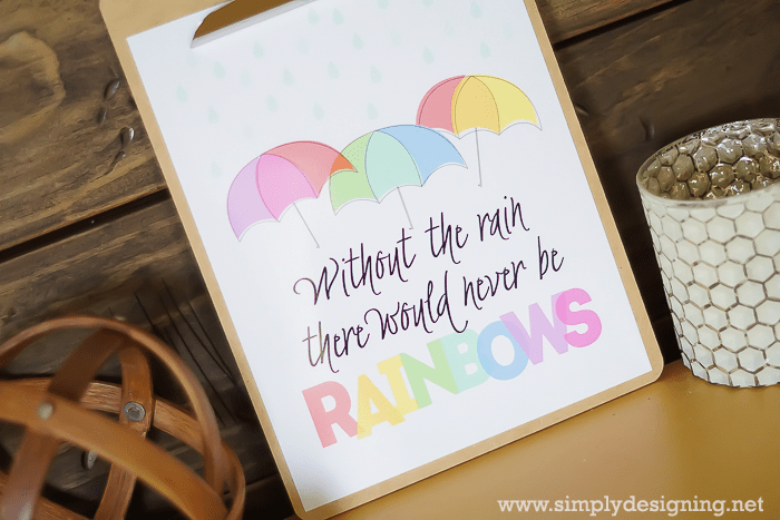 Without the rain there would never be rainbows Printable