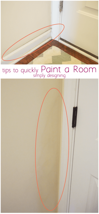 Ashley Phipps from Simply Designing showing how to paint a room fast using an edge tool from HomeRight called a Quickpainter Pad Edge Painter